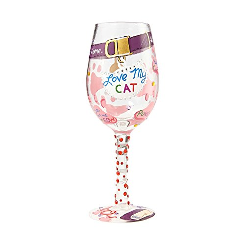 (Enesco 6000023 Designs by Lolita Hand-Painted Artisan, 15 oz. Wine Glass Love My Cat, Multicolor)