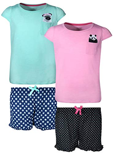 - Rene Rofe Girls 4-Piece Summer Short Pajama Set with Adorable Tops, Bulldog/Panda, Size 7/8'