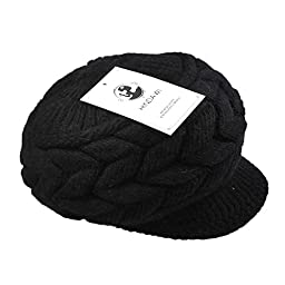 HINDAWI Women Winter Warm Knit Hat Wool Snow Caps With Visor, Black