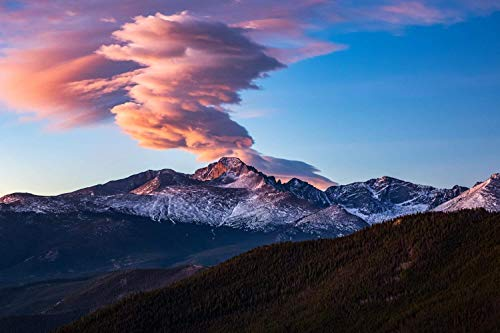 Rocky Mountain Cabin Decor - Longs Peak Colorado Photography Print - Picture of Fiery Cloud Over Mountain at Sunrise in Rocky Mountain National Park Cabin Decor Wall Art for Home Decoration 5x7 to 40x60