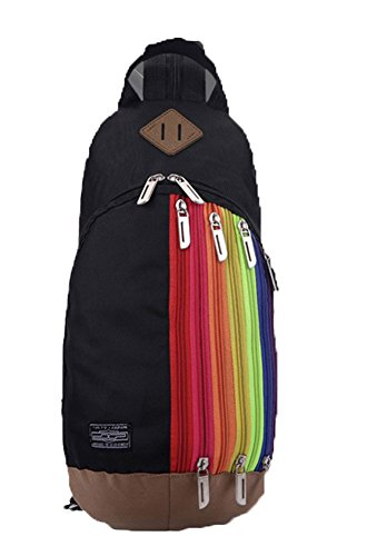 Travel Shoulders Patterns Backpack Rucksack Children Baymate Rainbow With Black UwxfqtU6a