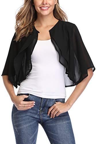 Donnalla Women Short Sleeve Shrug Cardigan Open Front Chiffon Sheer Bolero Jacket Shrugs(Black,Size S)