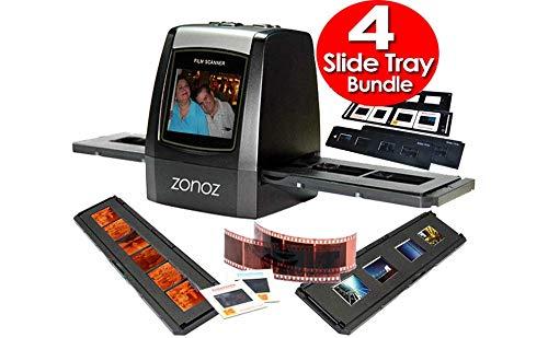 (zonoz FS-ONE 22MP Ultra High-Resolution 35mm Negative Film & Slide Digital Converter Scanner w/TV Cable, (1) Negative Tray, (4) Slide Trays & Worldwide Voltage 110V/240V AC Adapter (Bundle))