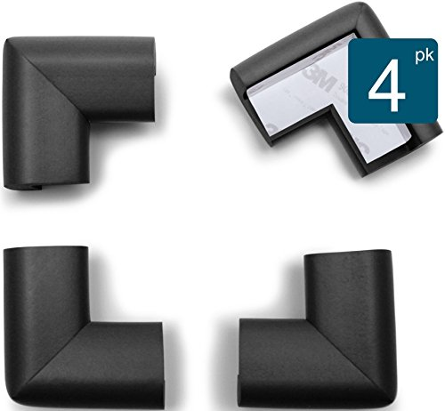 Roving Cove | Baby Proofing Table Corner Guards | Caring Baby Corners | Safe Corner Cushion | Child Safety; Rubber Furniture Bumper Protector | Pre-Taped | 4-Piece Onyx (black)