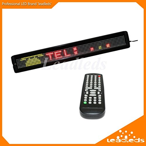 [Expedited Shipping] Leadleds 26 x 4 Inches Remote LED Sign Programmable Scrolling Message Board for Business, Store(RGY 3 Colors) - Led Scroll