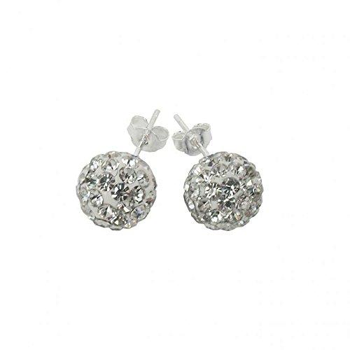Argent 925/1000 boucles d'oreilles clous avec cristaux de 8 mm