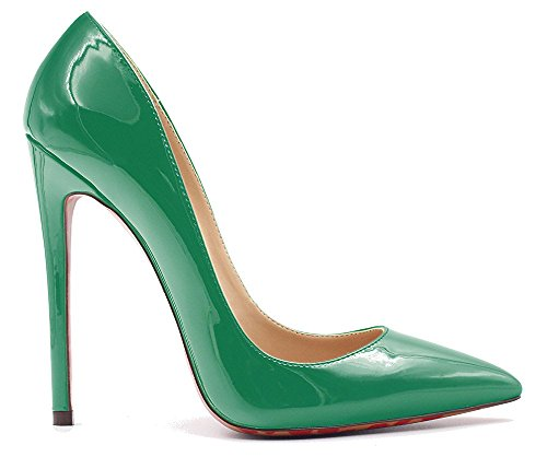 uBeauty Womens High Heels Pointed Toe Court Shoes Stiletto Slip On Work Pumps Patent Leather Or Suede 12cm Green tCNs0uqW