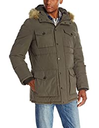 Men's Micro Twill Full-Length Hooded Parka Coat