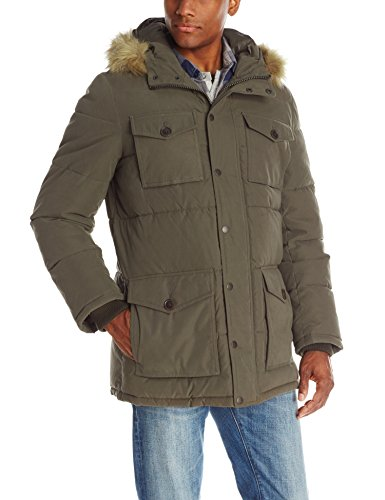 (Tommy Hilfiger Men's Micro Twill Full-Length Hooded Parka Coat, Olive, X-Large )