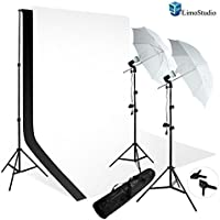 Limolight Photo Video Umbrella Reflector White Black Photo Backdrop Lighting Kit Combo, Agg725