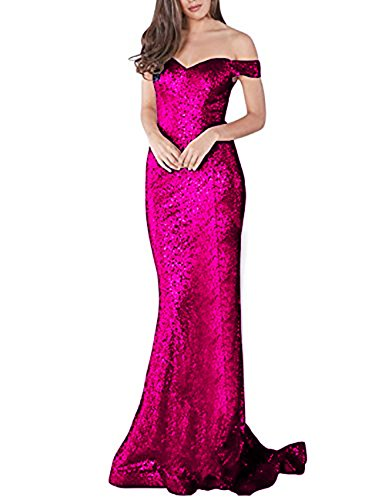 YSMei Women's Long Off The Shoulder Sequined Prom Party Dress Mermaid Formal Light Fuchsia 16 ()