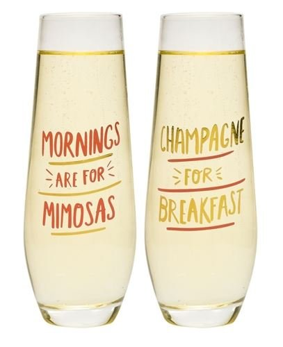 About Face Stemless Champagne Flutes Mornings are for - Mimosa Glasses