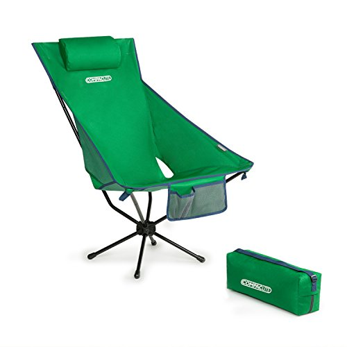 Green Picnic Chair (Compaclite High Back Oversize Steel Portable Chair for Outdoor Camping / Picnic / Hiking  / Bicycling / Fishing / BBQ / Beach / Patio with Carry Bag, Hunter)