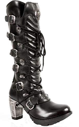 s1 tr004 Stivali Ladies Newrock New M stringati nera pelle Rock in CawAXqqIU