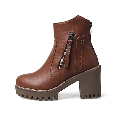 Round Low Solid High Material Heels 37 Top Womens Brown AllhqFashion Closed Boots Soft Toe AHwtCtnqx