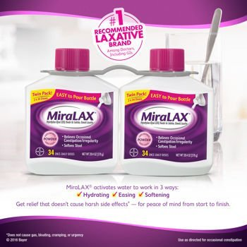 Price comparison product image Miralax powder laxative, 68 doses. 2x20.4 OZ