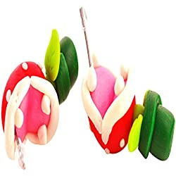 RoseSummer 1 Pair Handcraft Polymer Clay Super Mario Piranha Plant Corpse Flower Stud Earrings