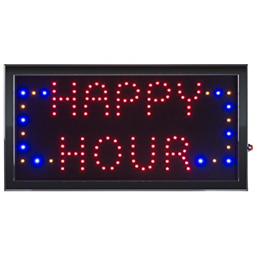 (Happy Hour LED Sign- Lighted Neon Electric Display Sign With Animation and Energy Efficient LED For Home, Business, Special Events by Lavish Home)