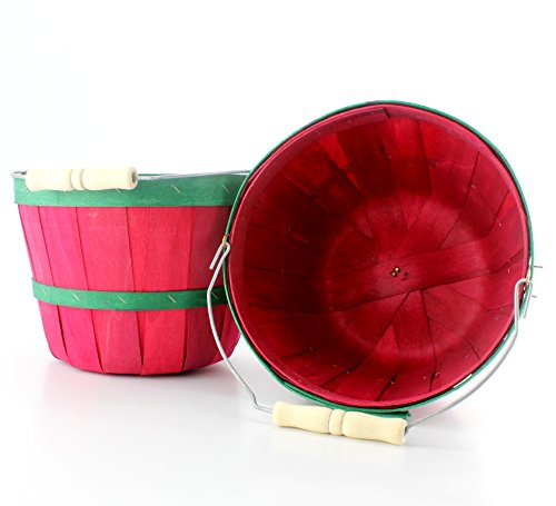 Red & Green Half Peck Wooden Baskets (2-Pack); Wood Fruit & Vegetable Picking Basket with Wire Bail / Wood Handle; Also Great for Arts & Crafts or Treat Bucket