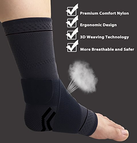 gonicc Professional Foot Sleeve Pair(2 Pcs) with Compression Wrap Support(Large, Black), Breathable, Stabiling Ligaments, Prevent Re-Injury, Boots Circulation, Soothe Achy Feet, Ankle Brace by gonicc (Image #2)