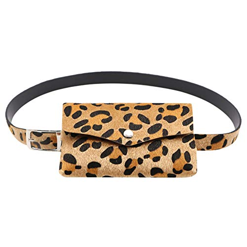 MEANIT Leopard Print Waistband, Fanny Pack for Women Waist Bag Belt Bag Small Pouch for Travel Cell Phone - Valentino Phone Black Cell