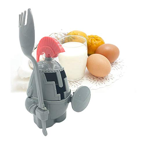 Promisen Soft or Hard Boiled Egg Cup Holder with a Fork Included- Knight Design - Kitchen Utensil Decor (Gray) by Promisen (Image #5)