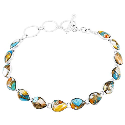 Turquoise Link Bracelet Sterling Silver 925 Genuine Turquoise (Spiny Turquoise)