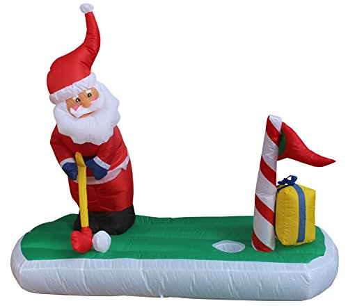 BZB Goods 5 Foot Long Christmas Inflatable Santa Claus Play Golf Yard Decoration Lights Decor Outdoor Indoor Holiday Decorations, Blow up Lighted Yard Decor, Lawn Inflatables Home Family -
