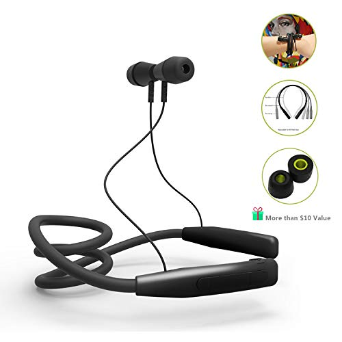 Wireless Bluetooth Headphones – LAINNO Sports Neckband Earbuds Headset, 360 Degree Adjustable Memory Neckband Slim Design for All Neck Size, Microphone, Bonus Memory Foam Earbuds, 2019 Version
