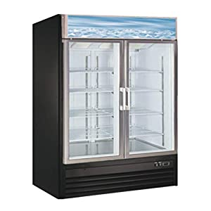 Large Capacity Glass Front Double Door Display Cooler – Merchandiser Refrigerator- 45...
