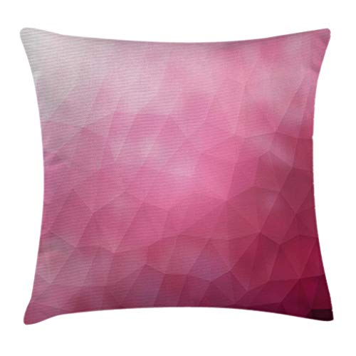 "Ambesonne Modern Throw Pillow Cushion Cover, Abstract Various Shades of Gradient Toned Pink with Fragmented Effects Design, Decorative Square Accent Pillow Case, 18"" X 18"", Magenta Fuchsia"