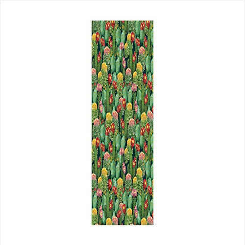 Decorative Window Film,No Glue Frosted Privacy Film,Stained Glass Door Film,Garden Flowers Cactus Texas Desert Botanic Various Plants with Spikes Pattern,for Home & Office,23.6In. by 78.7In Multicolor ()