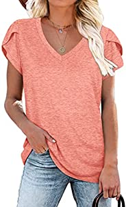 WIHOLL Womens Tops V Neck Summer Petal Sleeve Casual Tshirts