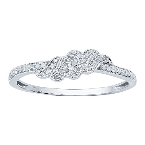 10k White Gold Vintage Style Diamond Wedding Band (1/6 cttw, I-J Color, I2-I3 Clarity) by Instagems