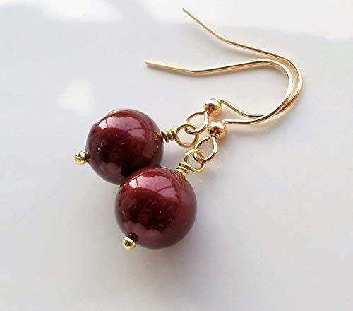 - Dark Red Swarovski Bordeaux Pearl Gold Drop Earrings