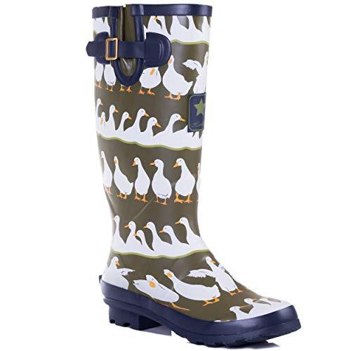 Spylovebuy Karlie Flat Festival Wellies Wellington Knee High Rain Boots
