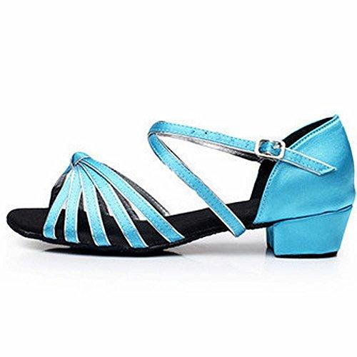 de Azul Samba Jazz Latino Baile de La Borde Plateado del Baile Cuero Tobillo de el Modern Sandalias Zapatos BYLE Suave Talón Onecolor bajo Adulta Zapatos Inferior Mujer TSqKwcfxYv