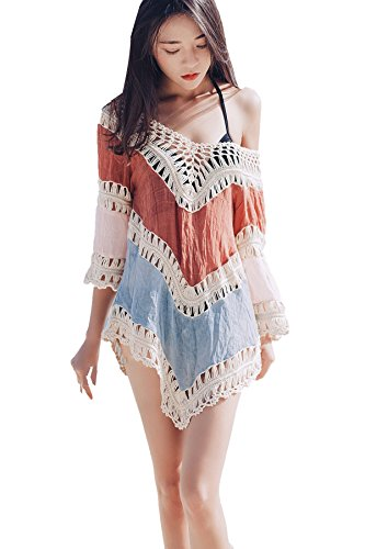 F.S.Flag Beachwear Cover Up Beach Bikini Swimsuit Casual Lace Crochet Cover-ups