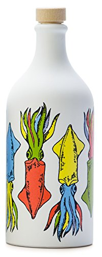 glia, Premium Italian Extra Virgin Olive Oil, First Cold Press, Pop Art Collection, CUTTLEFISH, Collectible Handmade Ceramic Bottle 17 Fl.oz (500 ml) evoo ()