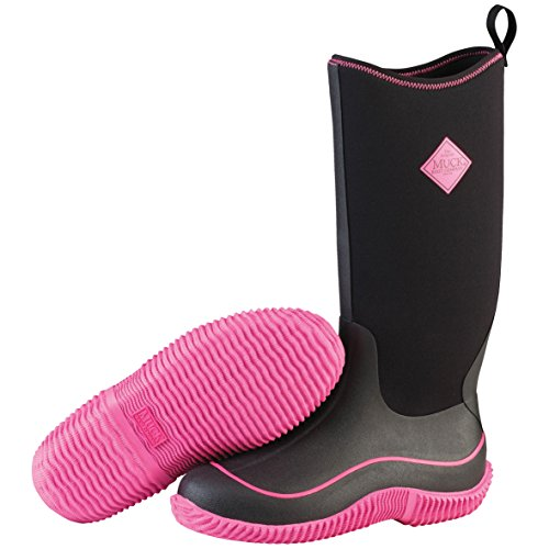 (Muck Boots Hale Multi-Season Women's Rubber Boot, Black/Hot Pink, 9 M US)