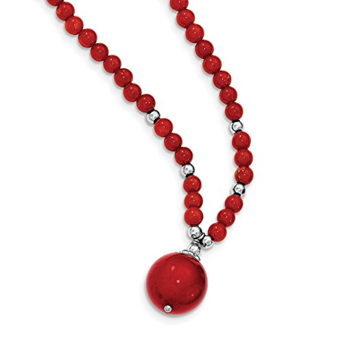 925 Sterling Silver Dyed Red Coral Beaded Chain Necklace Pendant Charm Natural Stone Fine Jewelry For Women Gift Set