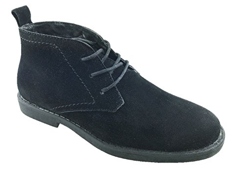 Mc Footwear Ltd Ladies Faux Suede 3 Eyelet Desert Ankle Boots Leather Lined Size UK 2.5-8 Black