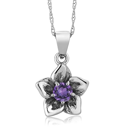 18k White Gold Amethyst Pendant (18K White Gold Flower Pendant set with 0.15Ct Round Purple Amethyst on 18