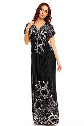 My Dress largo y estampado leopardo Vestido Evening veraniego Blanco con Negro flores rC5nfrT