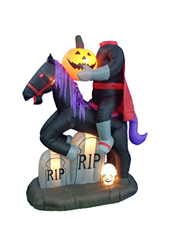 BZB Goods 7 Foot Tall Illuminated Halloween Inflatable Headless Horseman with Tombstones, 6.7'