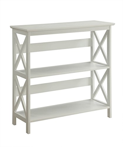 Convenience Concepts Oxford 3-Tier Bookcase, White - Cherry Office Sofa Table