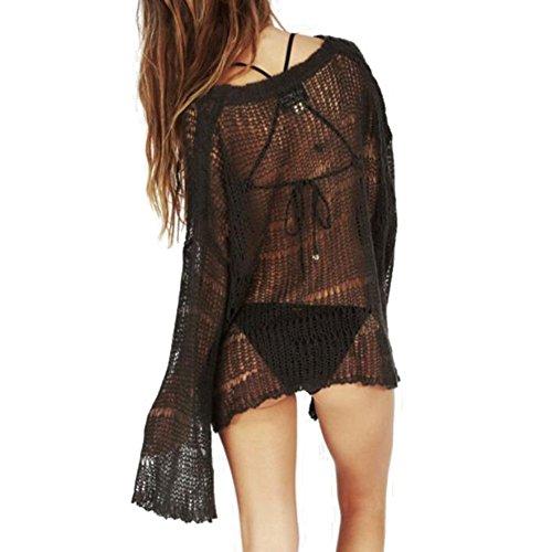 hibote Mujer Traje de Baño Pareo Playa Vestido Ropa de baño Bikini Cubierta Hasta Casual Ropa De Playa Negro