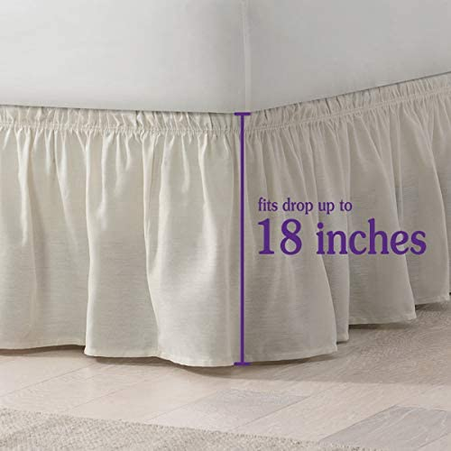 Dust Ruffle Bed Skirt With Split Corner White Solid Cotton Easy Fits Drop