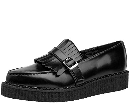T.U.K. Shoes Black Leather Slip On Pointed Loafer EU41/UKW8 UKM7