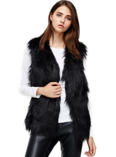 ANNA&CHRIS Womens Soft Sleeveless Faux Fur Vest Gradient Waistcoat Jacket Black